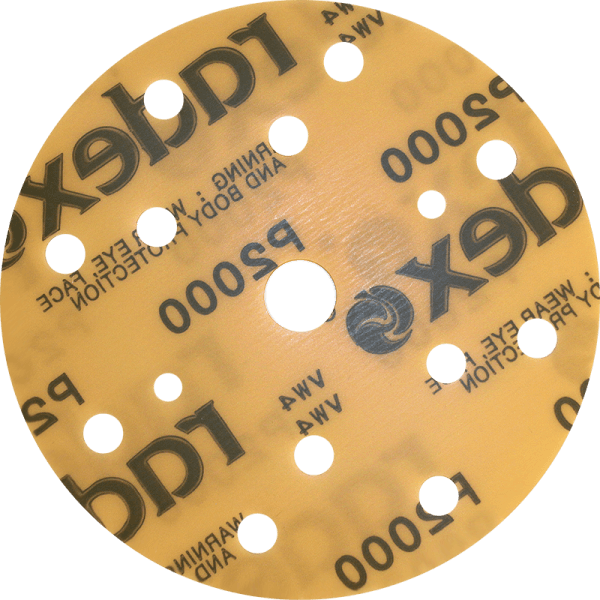 GOLD MICROFINISHING ABRASIVE FILM DISCS WITH GRIP CONNECTION, 15 HOLES