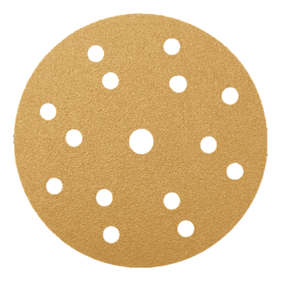 GOLD ABRASIVE PAPER DISCS WITH VELCRO, 15 HOLES